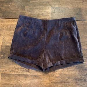 Brown Faux Velvet Shorts MD